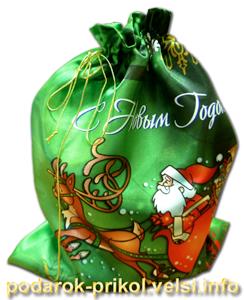 Новогодний мешочек для подарков с дедом Морозом на оленях.  1774.
